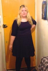 purple stripy skater dress